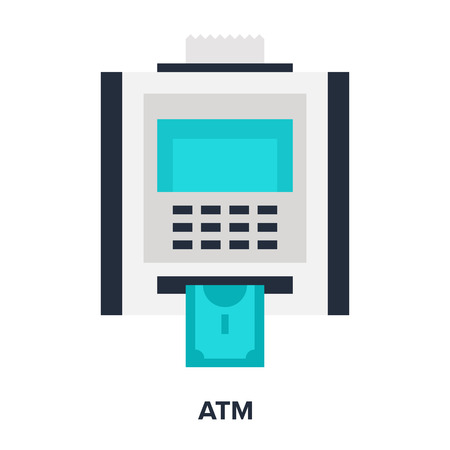 webshop: Vector illustration of atm flat design concept. Illustration