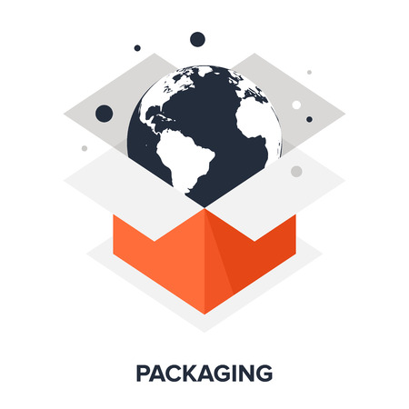 purchase icon: Vector illustration of packaging flat design concept.