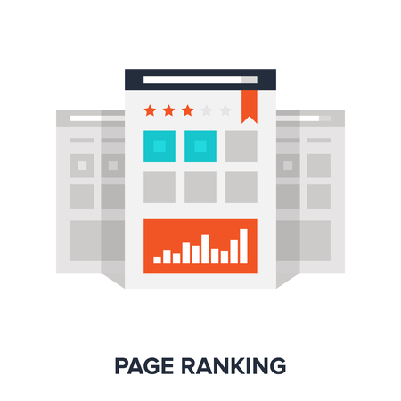 ranking: Vector illustration of page ranking flat design concept.