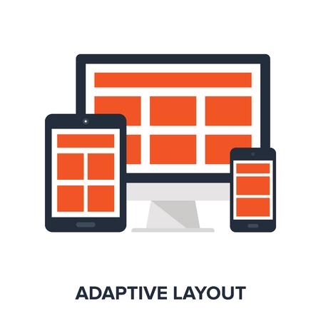 adaptive: Vector illustration of adaptive layout flat design concept.
