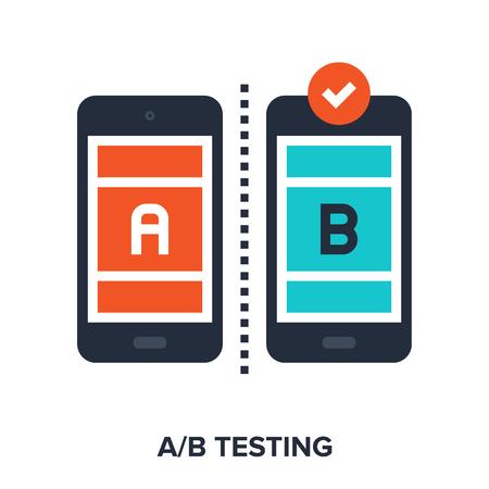 Vector illustration of ab testing flat design concept. Stock Illustratie