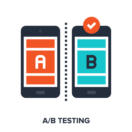 Vector illustration of ab testing flat design concept. Çizim