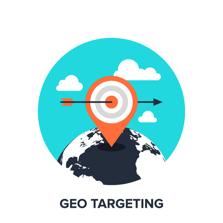 Vector illustration of geo targeting flat design concept. Illustration