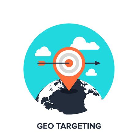 geo: Vector illustration of geo targeting flat design concept. Illustration