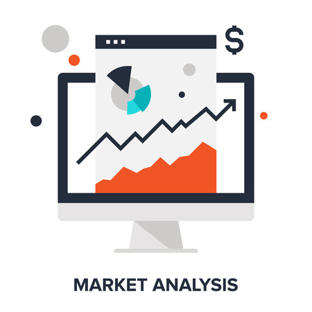 global finance: Vector illustration of market analysis flat design concept.