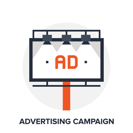 adverts: Vector illustration of advertising campaign flat design concept.