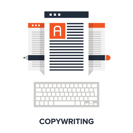 copywriting: Vector illustration of copywriting flat design concept.