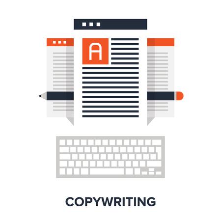 copywriting: Vector illustration of copywriting flat design concept.