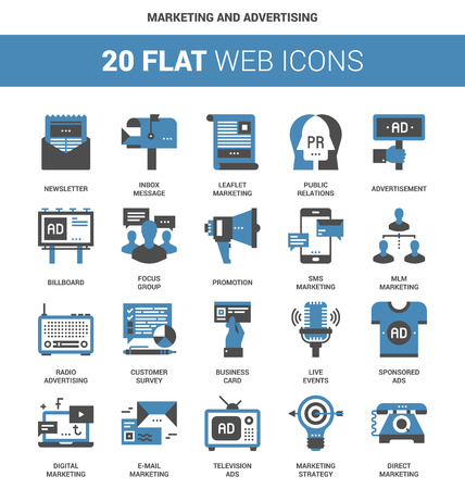 business icon: Vector set of marketing and advertising flat web icons. Each icon neatly designed on pixel perfect 64X64 size grid. Fully editable and easy to use. Illustration