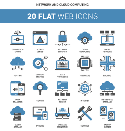 lan: Vector set of network and cloud computing flat web icons. Each icon neatly designed on pixel perfect 64X64 size grid. Fully editable and easy to use.