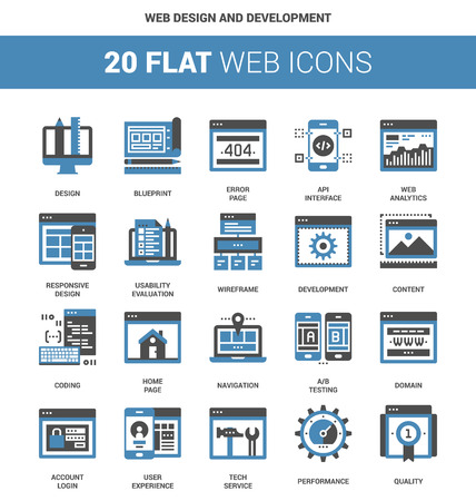 domain: Vector set of web design and development flat web icons. Each icon neatly designed on pixel perfect 64X64 size grid. Fully editable and easy to use.