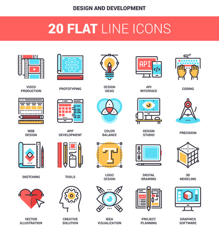 design process: Vector set of design and development flat line web icons. Each icon with adjustable strokes neatly designed on pixel perfect 64X64 size grid. Fully editable and easy to use. Illustration