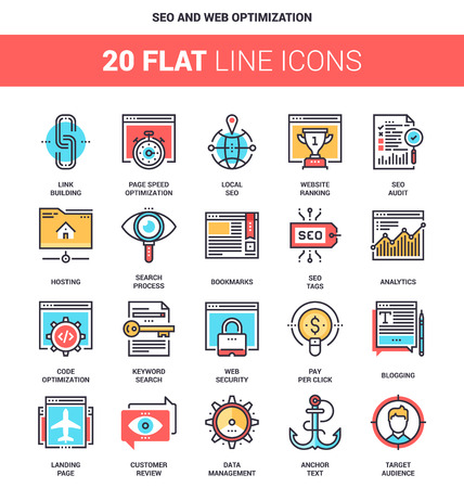 global settings: Vector set of SEO and web optimization flat line web icons. Each icon with adjustable strokes neatly designed on pixel perfect 64X64 size grid. Fully editable and easy to use.