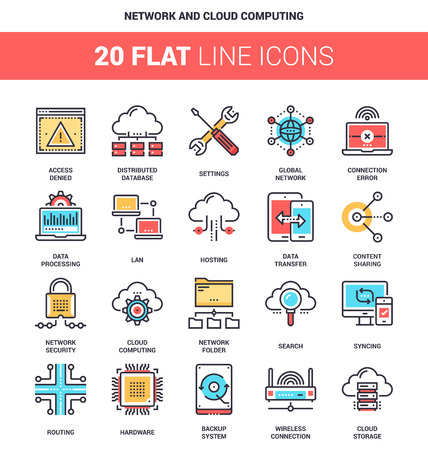 Vector set of network and cloud technology flat line web icons. Each icon with adjustable strokes neatly designed on pixel perfect 64X64 size grid. Fully editable and easy to use.