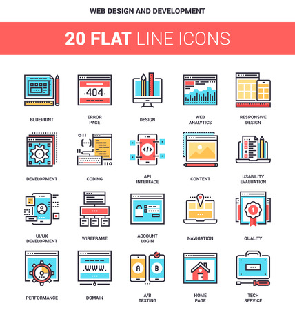 menu icon: Vector set of web design and development flat line web icons. Each icon with adjustable strokes neatly designed on pixel perfect 64X64 size grid. Fully editable and easy to use.