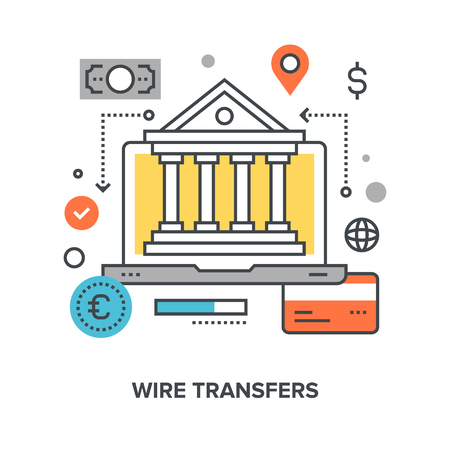 transfers: Vector illustration of wire transfers flat line design concept. Illustration