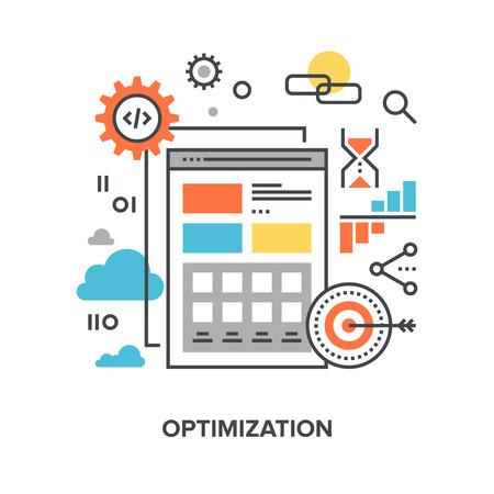 api: Vector illustration of web optimization flat line design concept. Illustration