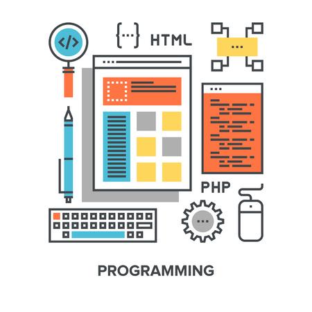 design process: Vector illustration of programming flat line design concept. Illustration