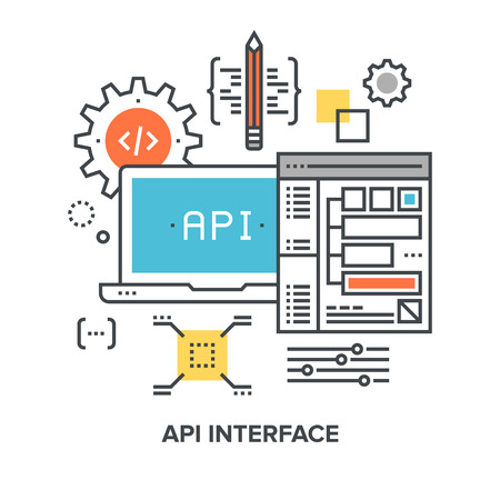 api: Vector illustration of api interface flat line design concept.