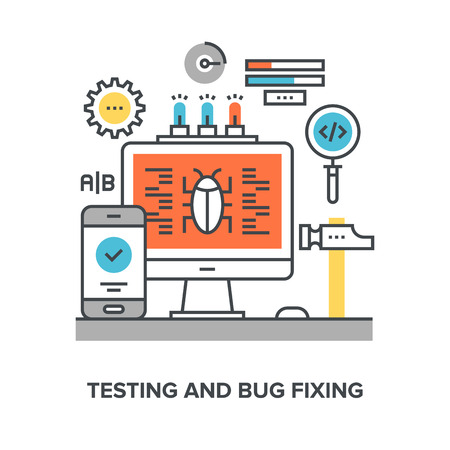 the test: Vector illustration of testing and bug fixing flat line design concept.