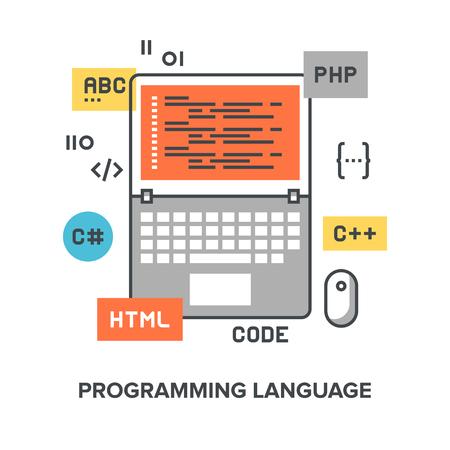 api: Vector illustration of programming language flat line design concept. Illustration