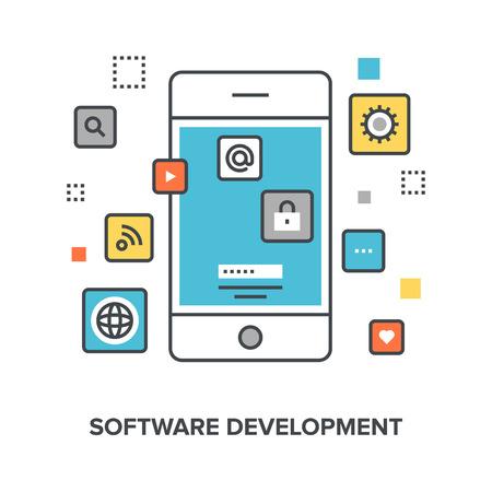 scenario: Vector illustration of software development flat line design concept. Illustration