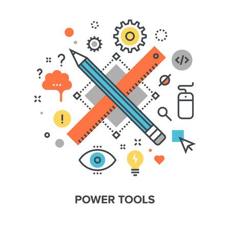 Vector illustration of power tools flat line design concept. Vettoriali