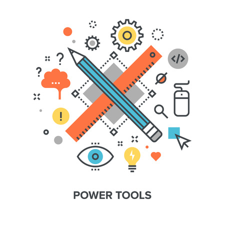 Vector illustration of power tools flat line design concept. Illustration