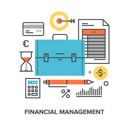funding: Vector illustration of financial management flat line design concept.