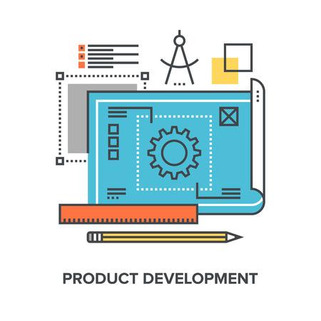 Vector illustratie van productontwikkeling vlakke lijn design concept. Stock Illustratie