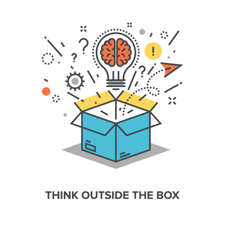 power of thinking: Vector illustration of think outside the box flat line design concept.