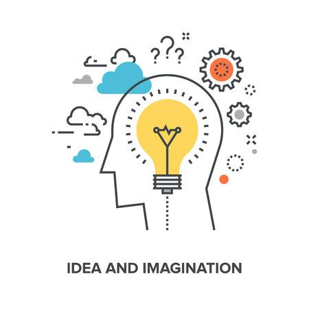 pensamiento creativo: Ilustración del vector de la idea y el concepto de diseño de la línea plana imaginación. Vectores