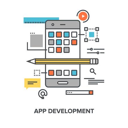 api: Vector illustration of app development flat line design concept.