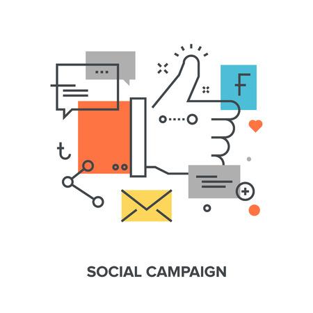 campaign: Vector illustration of social campaign flat line design concept.