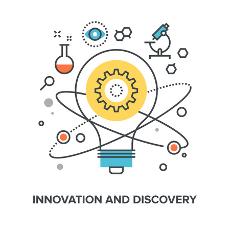 Vector illustration of innovation and discovery flat line design concept. Stock Photo