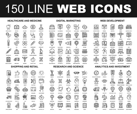 education icon: Vector set of 150 flat line web icons on following themes - healthcare and medicine, digital marketing, web development, shopping and retail, research and science, analytics and investment