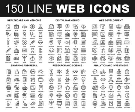 Wektor zestaw 150 płaską linię internetowych ikon na następujących tematów - opieki zdrowotnej i medycyny, marketingu cyfrowego, tworzenie stron internetowych, sklepów i detalicznym, nauki, badań i analiz i inwestycji