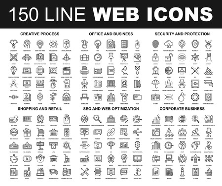business: Vector set of 150 flat line web icons on following themes - creative process, corporate business, office and business, security and protection, shopping and retail, SEO and web optimization