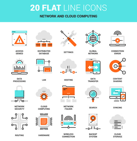 global settings: Vector set of network and data technology, cloud computing, flat line web icons. Illustration graphic design concepts. Modern flat line icon style. Symbols for mobile and web graphics. concepts