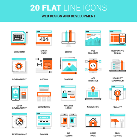 web icon: Vector set of website design and development, program coding, flat line web icons. Illustration graphic design concepts. Modern flat line icon style. Symbols for mobile and web graphics. concepts