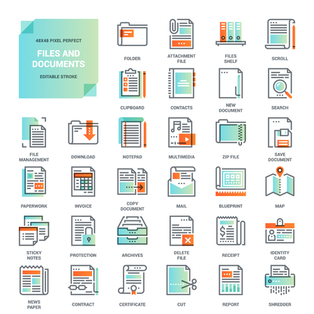 paper work: Vector set of files and documents, paper work, office and business flat line web icons. Illustration graphic design concepts. Modern looking flat line icon style. Symbols for mobile and web graphics.