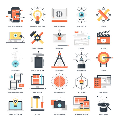 responsive design: Abstract vector collection of colorful flat creative process and design and development icons. Elements for mobile and web applications.