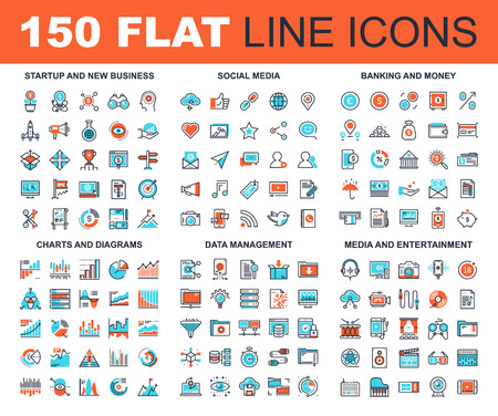 Vector set of 150 flat line web icons on following themes - startup and new business, social media, banking and money, charts and diagrams, data management, media and entertainment Stok Fotoğraf - 67960343