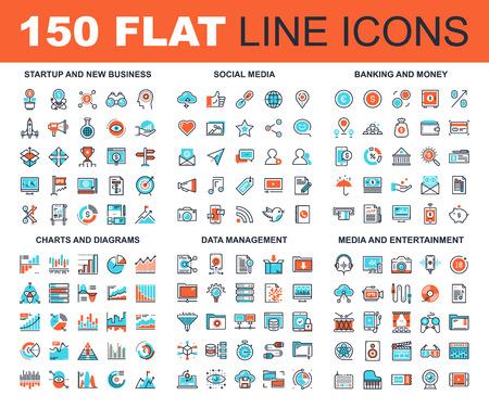 Vector set van 150 vlakke lijn web pictogrammen op de volgende thema's - het opstarten en nieuwe zakelijke, sociale media, banken en geld, grafieken en diagrammen, data management, media en entertainment Stock Illustratie