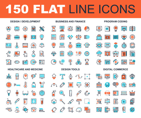 business finance: Vector set of 150 flat line web icons on following themes - design and development, business and finance, program coding, healthcare and medicine, design tools, digital commerce