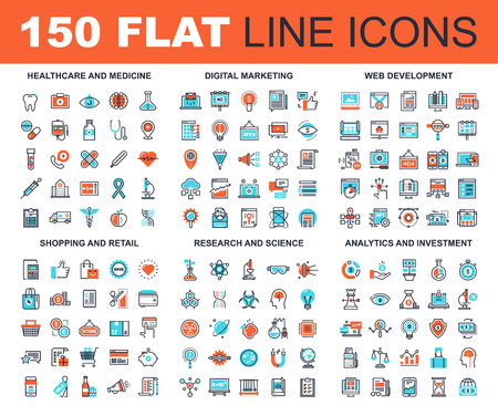 Vector set of 150 flat line web icons on following themes - healthcare and medicine, digital marketing, web development, shopping and retail, research and science, analytics and investment