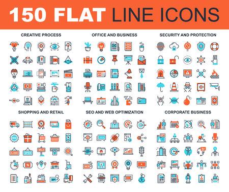 Vector set van 150 vlakke lijn web pictogrammen op de volgende thema's - creatieve proces, corporate business, kantoor- en bedrijfsruimten, veiligheid en bescherming, winkelen en retail, SEO en web optimalisatie
