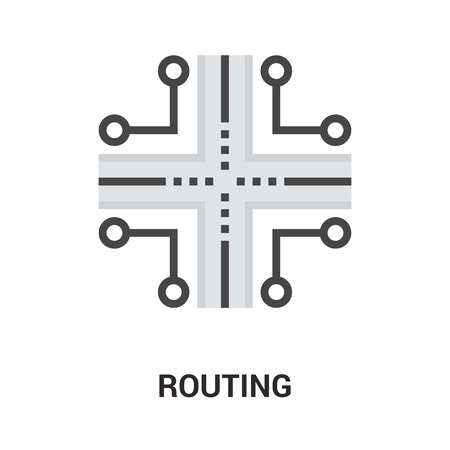 routing: Modern flat  illustration icon design concept. Icon for mobile and web graphics. Flat symbol, creative concept. Simple and clean flat pictogram, 64X64 pixel perfect