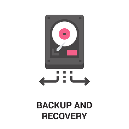data recovery: Modern flat line vector illustration icon design concept. Icon for mobile and web graphics. Flat line symbol, logo creative concept. Simple and clean flat line pictogram