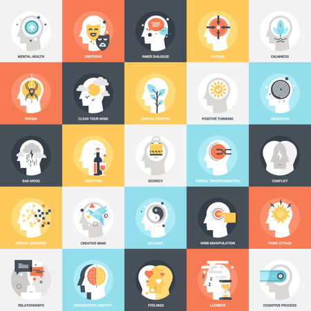 Modern flat vector illustration of human psychology icon design concept. Icon for mobile and web graphics. Flat symbol, logo creative concept. Simple and clean flat pictogram